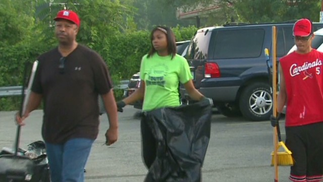 Church helps clean up streets of Ferguson