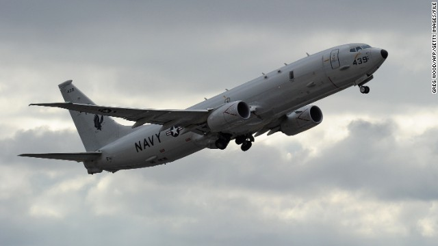 A US Navy P-8 Poseidon like the one that spotted the castaways' sign   (GREG WOOD/AFP/Getty Images)