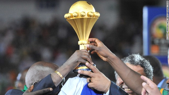 The African Cup of Nations trophy held aloft by 2012 winners, Zambia.