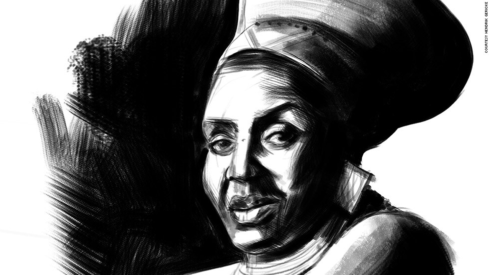 "The South African-born artist has illustrated 10 musicians from his homeland for this first stamp collection for the South African Post Office including Miriam Makeba, pictured, who is largely recognized for helping bring African music off the continent to an eager global audience. <br /><br />To create the digital etchings, he started by roughly sketching a pencil drawing using a photograph for inspiration. ""You start with a pencil drawing and then I would take them to Photoshop and do a rough, tonal drawing over it."""