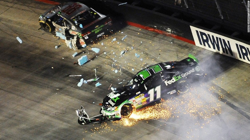 Denny Hamlin, driver of the No. 11 FedEx Ground Toyota, is involved in a crash during the NASCAR Sprint Cup Series Irwin Tools Night Race at Bristol Motor Speedway on Saturday, August 23, in Bristol, Tennessee.