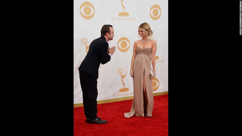 Aaron Paul may have been one of the big nominees at the 2013 Emmys, but he ceded his position in the spotlight to his other half, Lauren Parsekian.