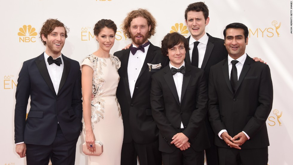 "From left, Thomas Middleditch, Amanda Crew, T.J. Miller, Josh Brener, Zach Woods and Kumail Nanjiani (cast of ""Silicon Valley"")."