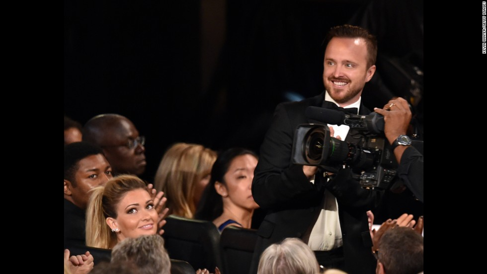 "Aaron Paul was so thrilled with his best supporting actor in a drama win that he almost made himself sick. ""Oh, wow, I feel like I'm going to throw up,"" the ""Breaking Bad"" star said. And because no Aaron Paul acceptance speech is complete without a shout-out to his spouse, Lauren Parsekian, the actor concluded, ""to my wife, my God, thank you for marrying me."""