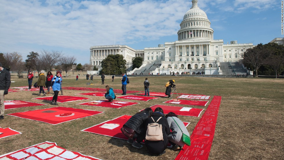 "The Monument Quilt began in summer 2013 and has been growing ever since. This summer, activist group ""Force: Upsetting Rape Culture"" took the quilt on a 13-stop road trip in 12 states, displaying portions of the quilt and collecting squares made by people in the host communities."