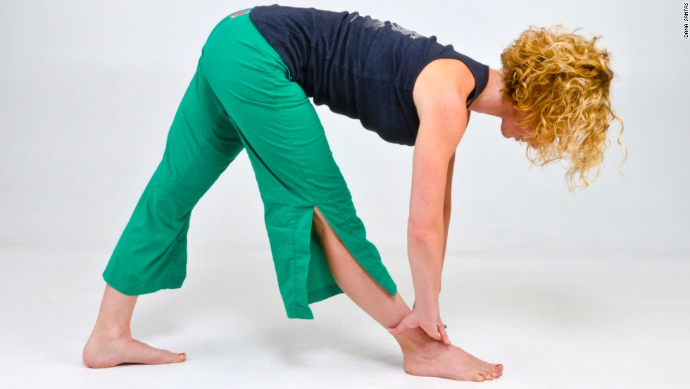 When done correctly, the pyramid pose stretches your hamstrings with proper pelvic alignment.