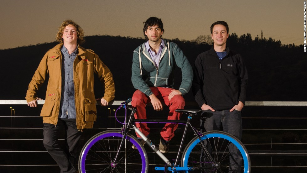 The three Chilean engineering students who invented the bike: Andrés Roi Eggers, 22, Juan José Monsalve, 23, and Cristóbal Cabello, 22.