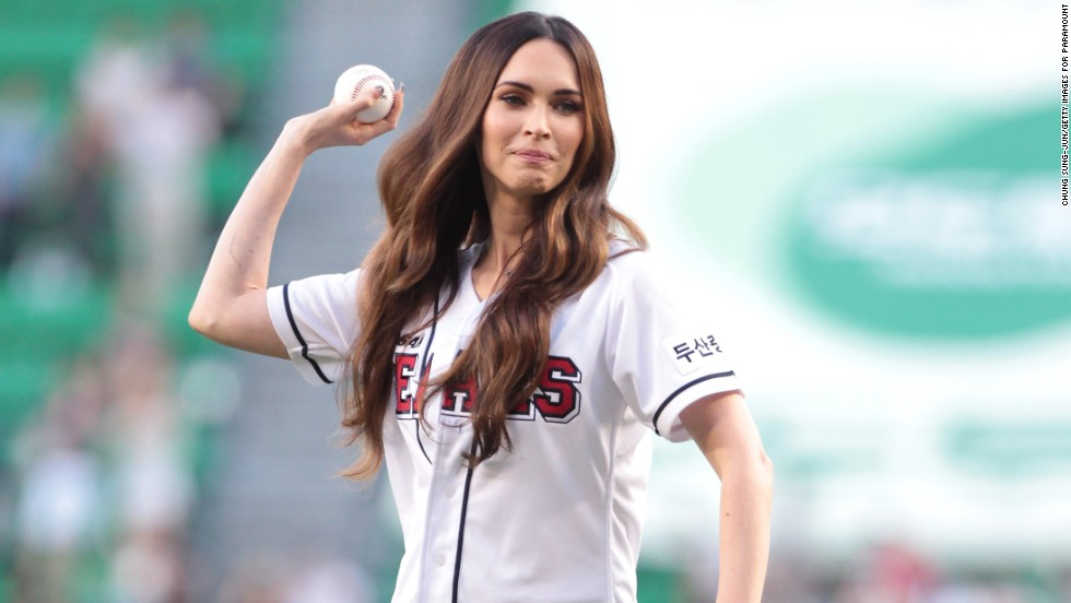 Megan Fox makes her pitch at a South Korean baseball game in Seoul on August 27.