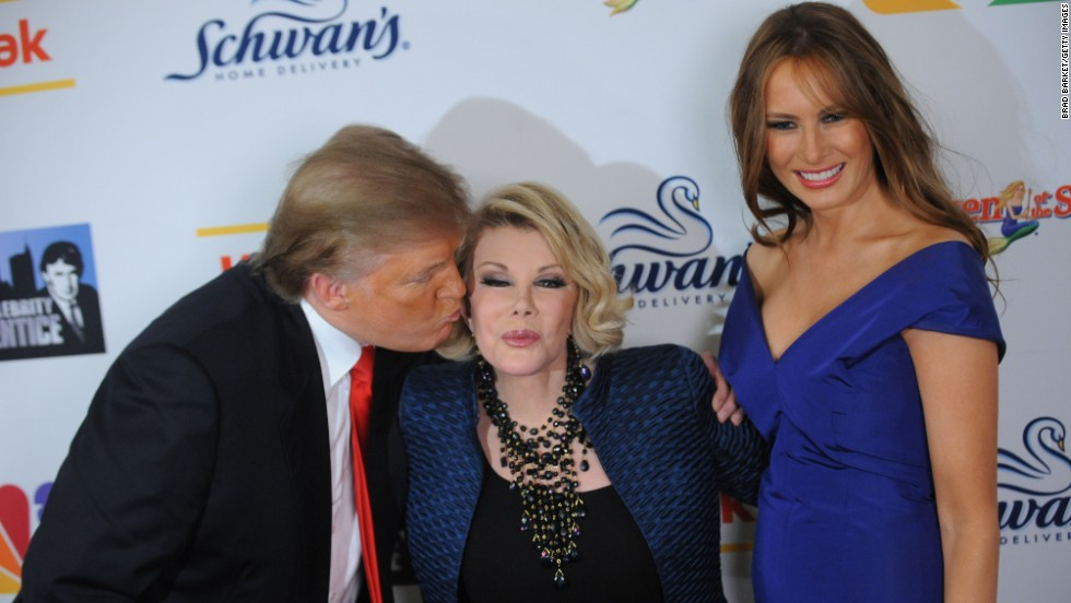 "Rivers proved herself to be quite the savvy businessperson by winning a season of Donald Trump's ""Celebrity Apprentice."" Trump and his wife, Melania, join Rivers at the season finale in 2009."