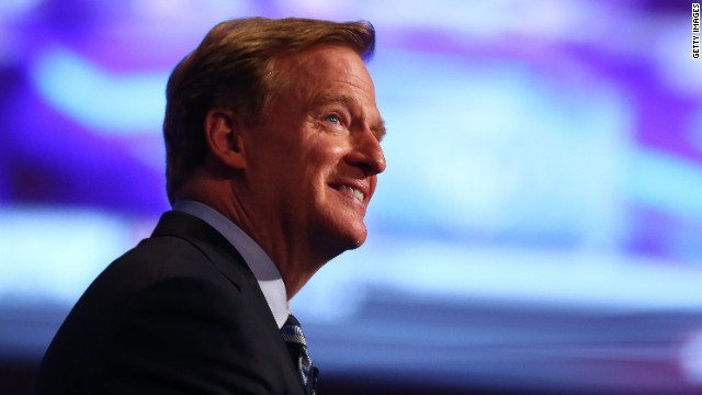 NFL Commissioner Roger Goodell looks on prior to the start of the first round of the 2014 NFL Draft at Radio City Music Hall on May 8, 2014 in New York City