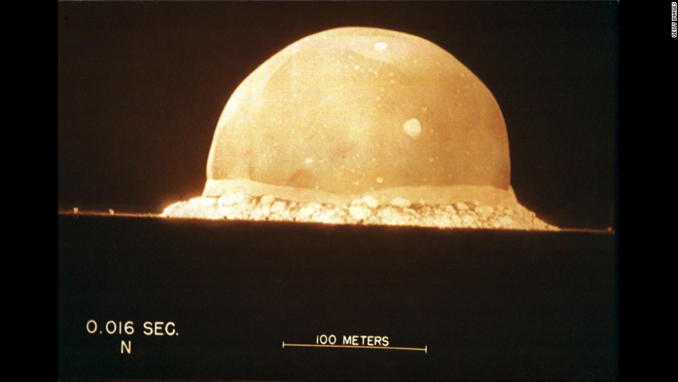 "A photograph on display at the Bradbury Science Museum shows the first instant of the first atomic bomb test, on July 16, 1945, at 5:29 a.m. at Trinity Site in New Mexico. The Potsdam Declaration, announced 10 days later, called for Japan's unconditional surrender, threatening ""prompt and utter destruction."" It did not, however, specifically mention the bomb."