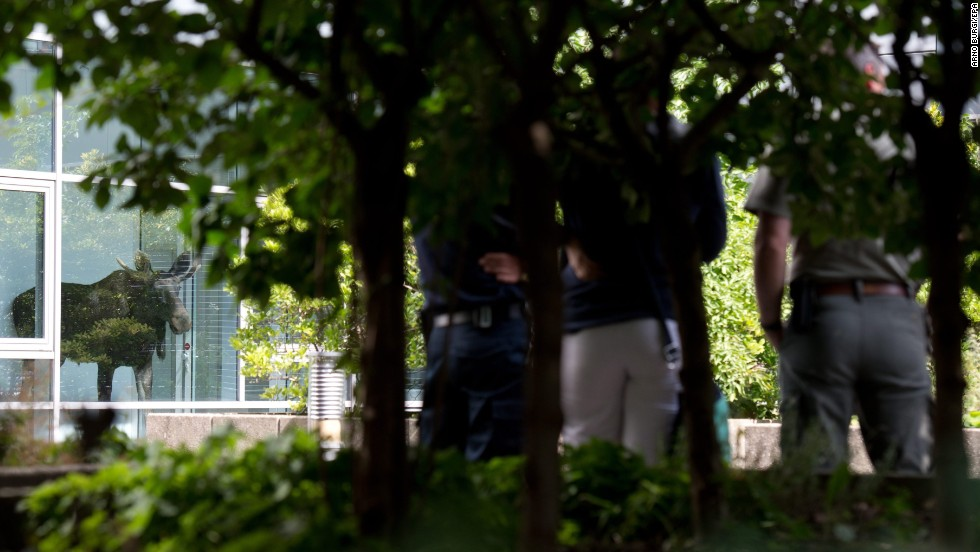 Police officers and zoo employees watch a young moose after it wandered into an office building in Dresden, Germany, on Monday, August 25. The animal was rescued after several hours, police said.