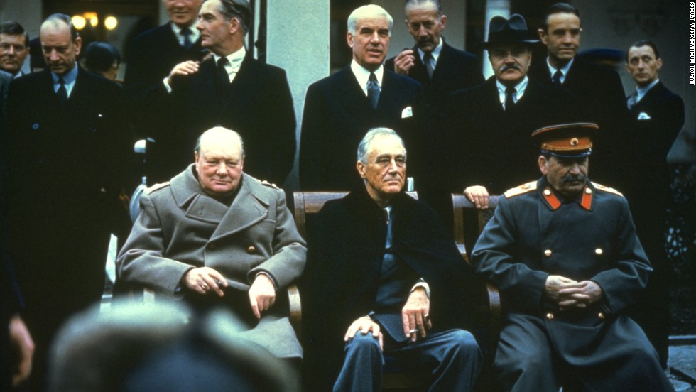 From left, British Prime Minister Winston Churchill, U.S. President Franklin D. Roosevelt and Russian Premier Joseph Stalin at the Yalta Conference on February 1945.