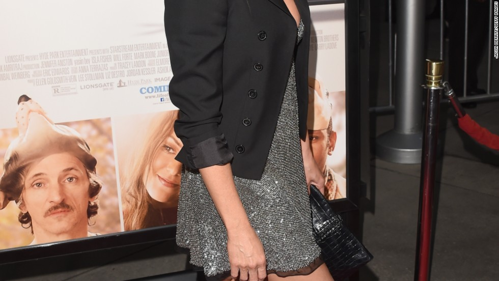 "Jennifer Aniston makes a sparkling entrance at the premiere of her new movie, ""Life of Crime,"" in Hollywood on August 27."
