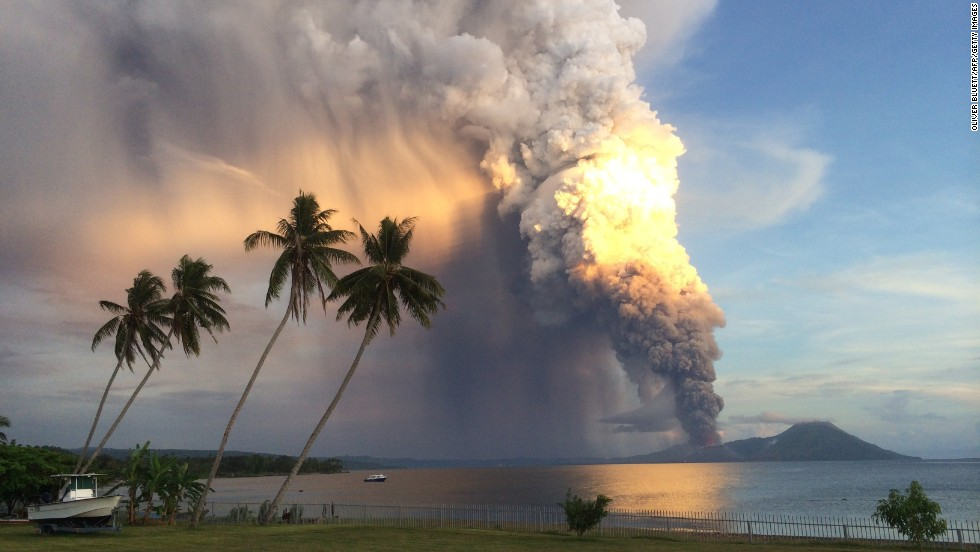 Mount Tavurvur erupts in Papua New Guinea in August 2014, forcing local communities to evacuate.