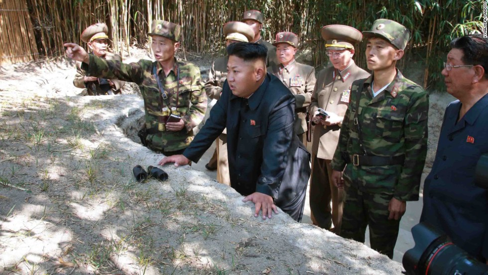 Kim tours a front-line military unit in this image released Wednesday, July 16, by the KCNA.