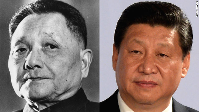 "(Left) Deng Xiaoping ruled as ""paramount leader"" from 1978 to 1992; (right) Xi Jinping, current president of the People's Republic of China."