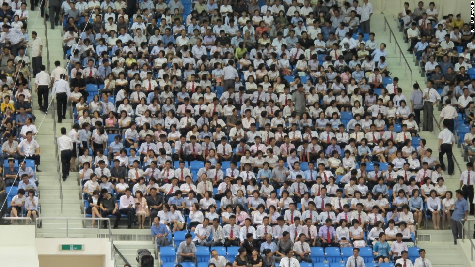 As evidenced by the Pyongyang crowd, most North Koreans dress up for sporting events.