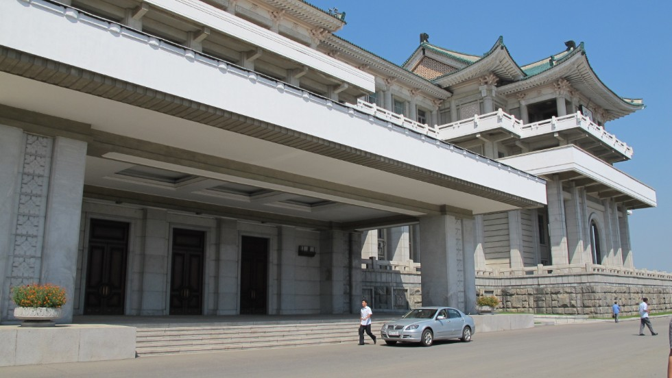 The front doors of the Grand People's Study House in Pyongyang.