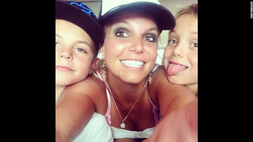 "Pop star Britney Spears <a href=""http://instagram.com/p/sNs8RAm8Lp/"" target=""_blank"">posted this photo</a> of her and her two sons to Instagram on Wednesday, August 27. ""Hi!"" was all she wrote."