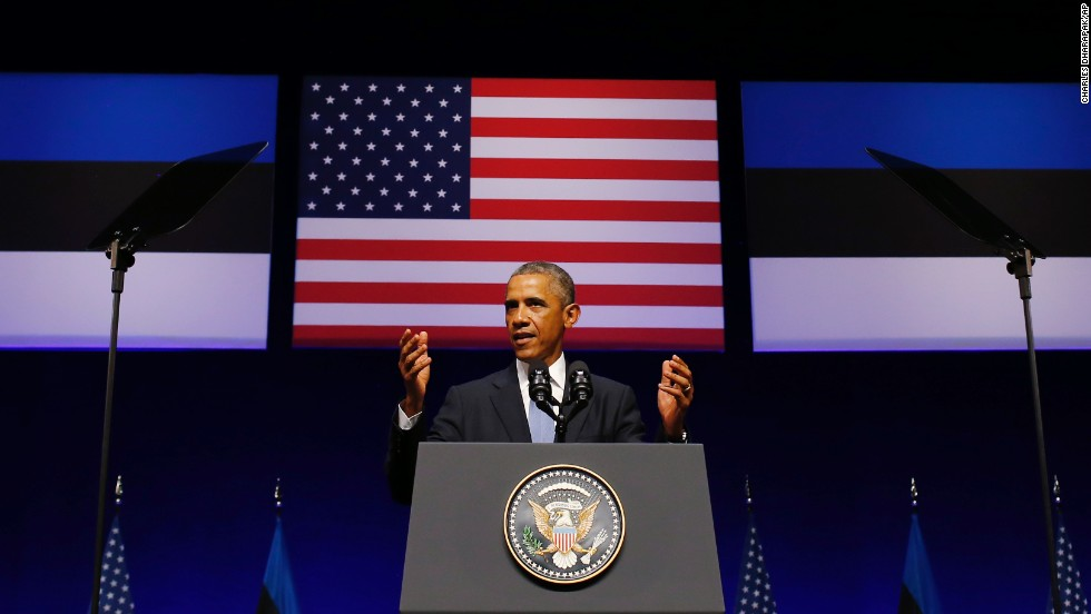 "Obama speaks at Nordea Concert Hall in Tallinn, Estonia, on September 3. In Estonia, Obama said the vision of a Europe dedicated to peace and freedom is ""threatened by Russia's aggression against Ukraine."""
