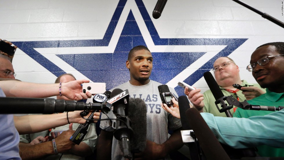 "Michael Sam speaks to reporters September 3, 2014, after practicing at the Dallas Cowboys' headquarters in Irving, Texas. Sam <a href=""http://www.cnn.com/2014/08/30/us/michael-sam-nfl/index.html"">did not make the St. Louis Rams' final 53-man roster</a>, but he was signed by the Cowboys to be on their practice squad. He was later waived from the team."