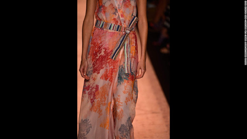 BCBGMAXAZRIA also relied heavily on abstract floral prints in draped silk.