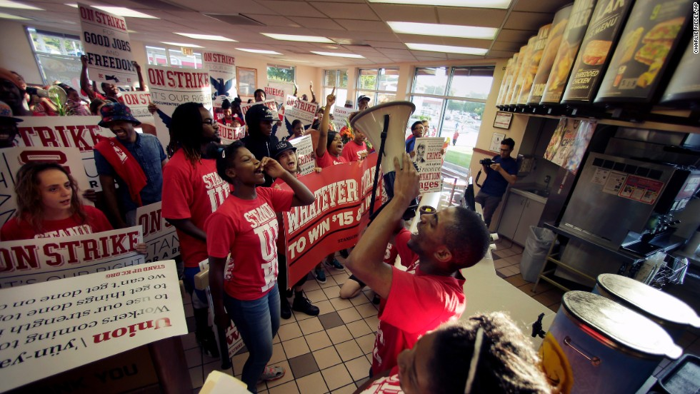 Protesters gather inside a Taco Bell in Kansas City, Missouri, on September 4.