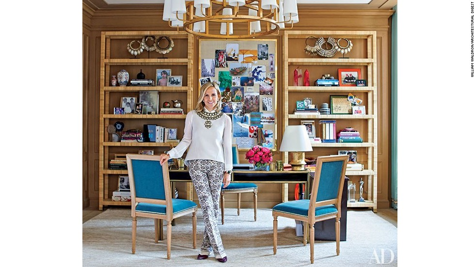 "Fashion impresario Tory Burch in her New York office, which was decorated with the help of AD100 firm Daniel Romualdez Architects. <a href=""http://www.architecturaldigest.com/decor/2014-09/tory-burch-manhattan-office-slideshow?mbid=synd_cnn"" target=""_blank"">See more photos on ArchDigest.com</a>"