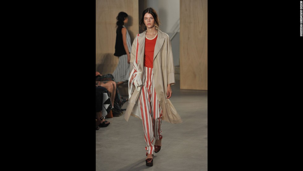 The Creatures of the Wind collection paired a trench with a classically tailored pant in a bold striped pattern.