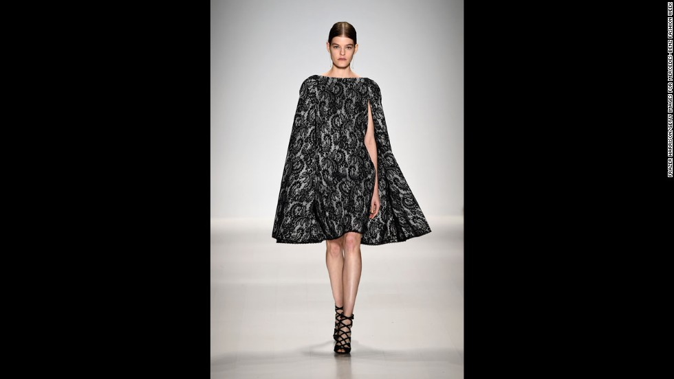 A model showed a shorter version of a caped gown by Tadashi Shoji, who paid homage to 15th century Venice.