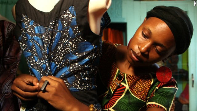 Botswanan fashion entrepreneur Kemi Kalikawe sells clothes and home furnishings from a store in Dar Es Salaam, Tanzania