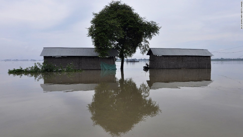 Houses in Balimukh, India, are flooded on Sunday, August 17.