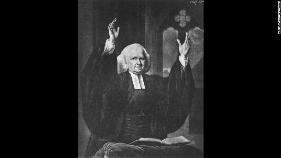 Historians say that British-born preacher George Whitefield was so popular that 80% of 18th -century  Americans heard him preach. In contrast to the Puritans, Whitefield taught that God desires personal relationships with Christians.