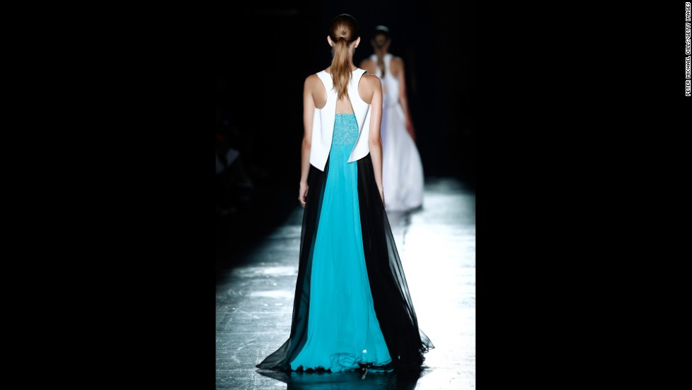Prabal Gurung's spring collection featured breezy cocktail dresses with racerbacks. The designer showed the new looks on September 6.