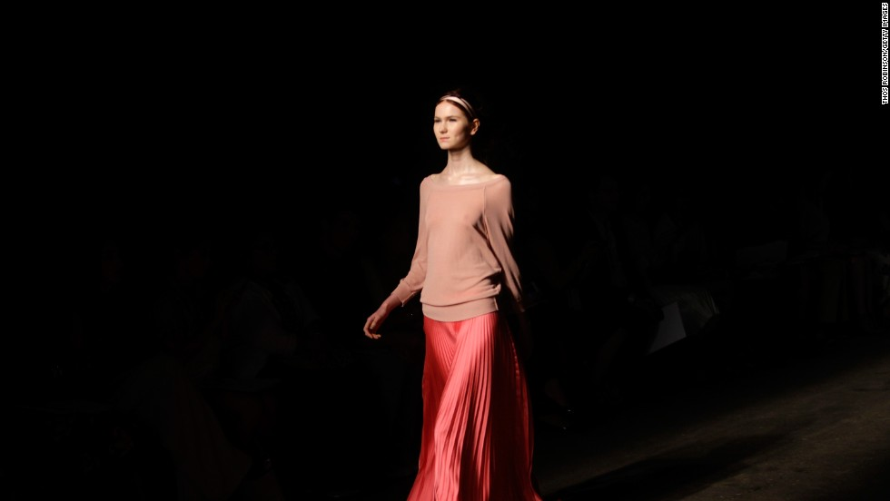 Tracy Reese paired a ballet sweater with a floor-length, pleated skirt for this effortless look.