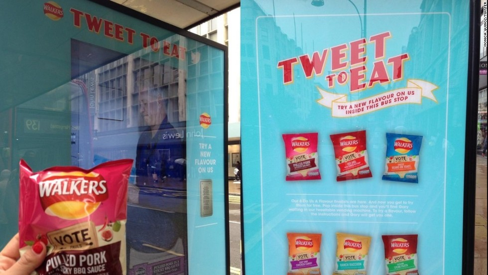 People passing any of the three London installations tweet the company, and hey presto: out pops a free snack to accompany you on your journey.