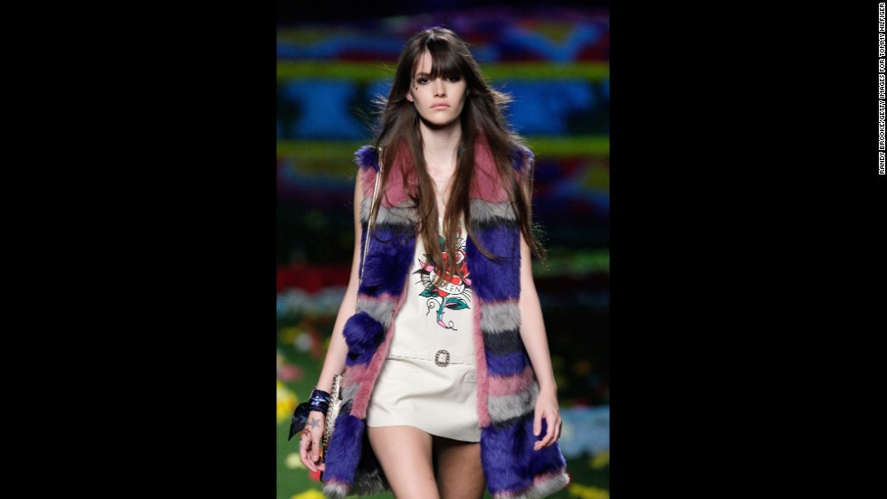 Tommy Hilfiger kept true to his music festival muse with an oversized, multi-colored vest.