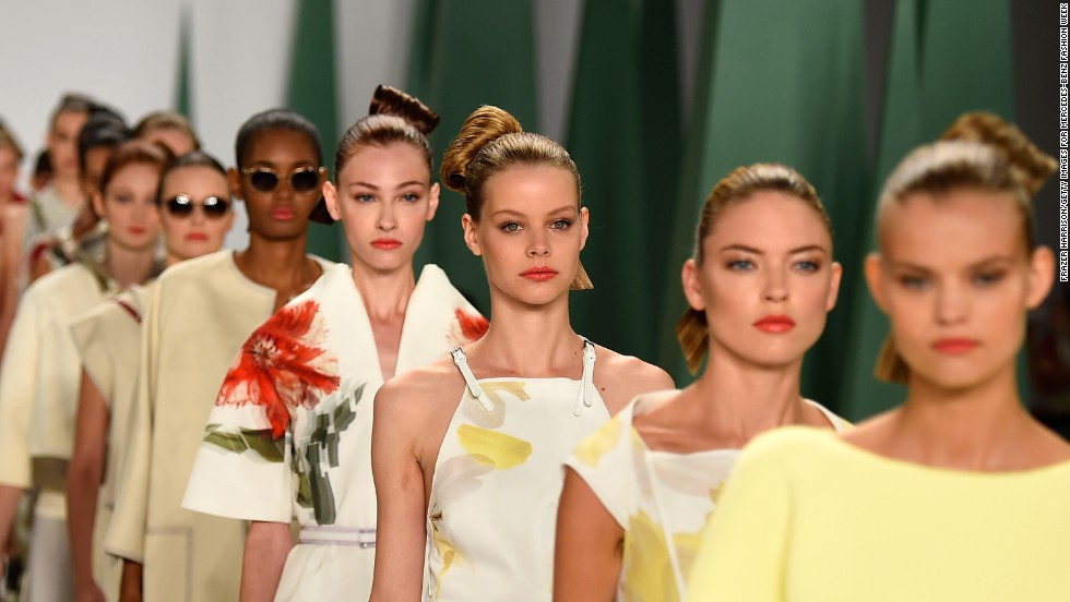 Carolina Herrera focused her spring collection on florals and experimental fabrics in her iconic glamorous aesthetic on September 8.