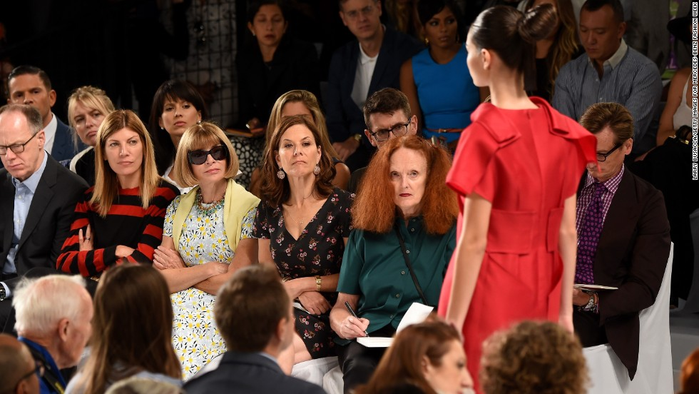 Virginia Smith, Anna Wintour, Gina Sanders and Grace Coddington of Vogue Magazine and Condé Nast sat front row at the Carolina Herrera fashion show.