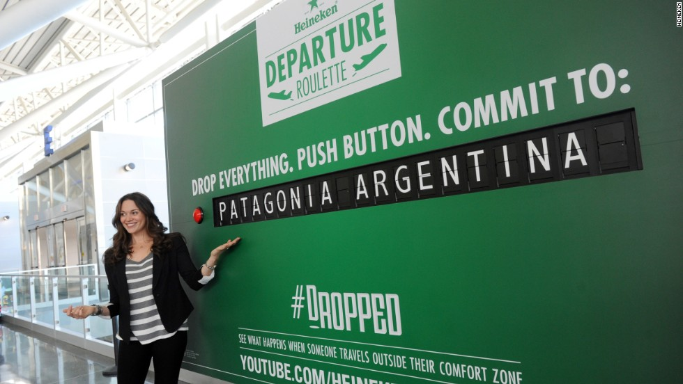 At JFK in New York, fliers were able to participate in Heineken's Depature Roulette - where the press of a button gave them a new destination entirely.
