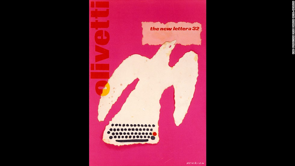 This 1961 poster was used to promote the Olivetti Lettera 32 (a typewriter).
