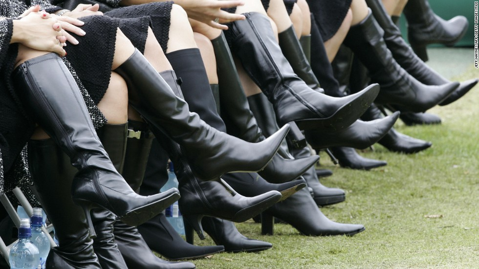 "The U.S. ""WAGs"" put their best foot forward during the opening ceremony of the 2006 Ryder Cup at the K Club in Ireland."