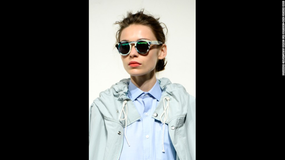 Many of the models at the J. Crew presentation were accessorized with striking sunglasses.