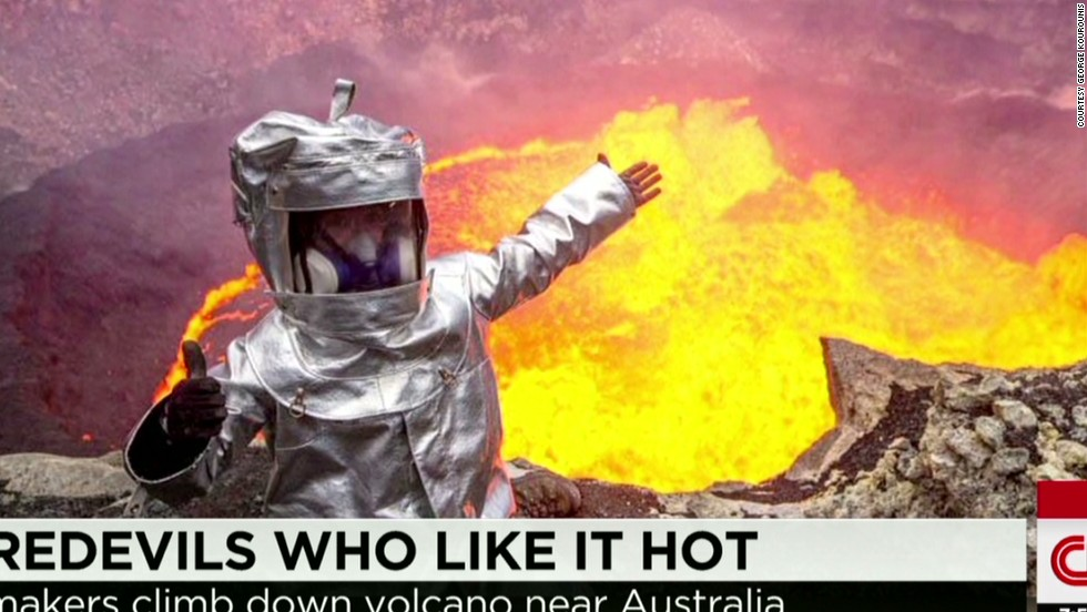 Man climbs into the mouth of a volcano - CNN Video