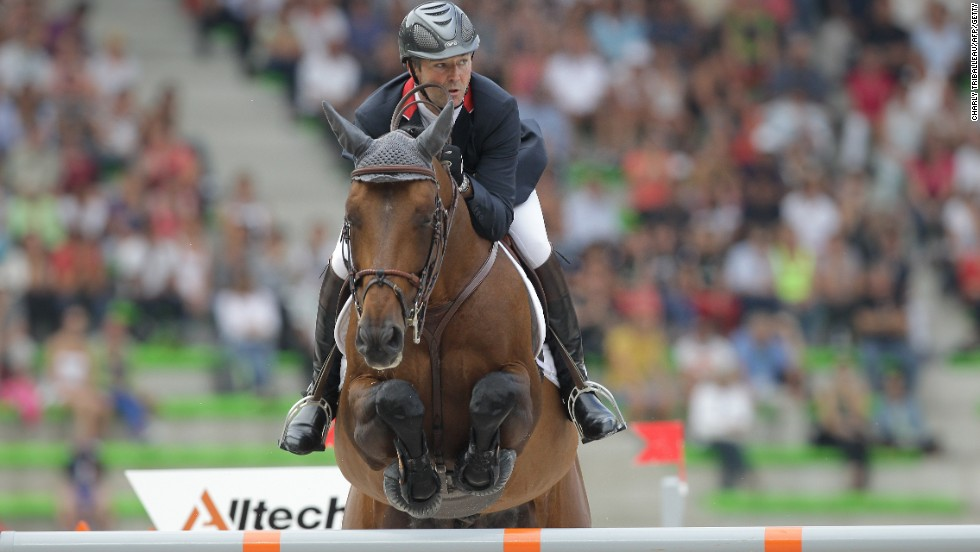 France's Patrice Delaveau rides Orient Express HDC as he competes in the Jumping competition on September 4, 2014.