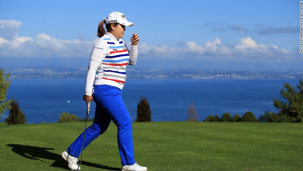 South Korea's Inbee Park at the 2013 tournament. As well as offering views of Lake Geneva and the Alps, the Evian course, perched at a height of 500 metres, also overlooks the Swiss city of Lausanne.