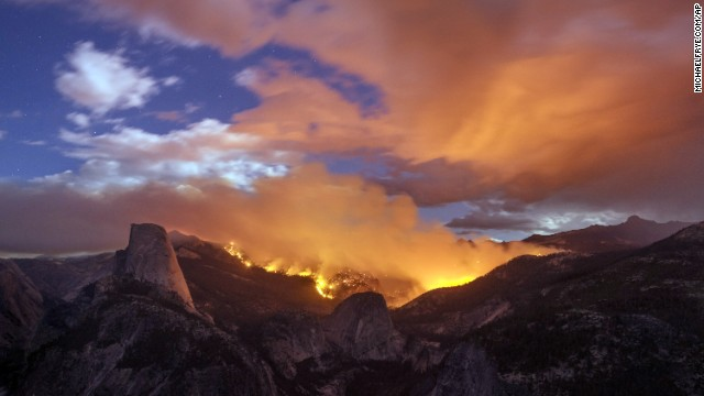 A wildfire burns next to the Half Dome in Yosemite National Park, California, on Sunday, September 7.