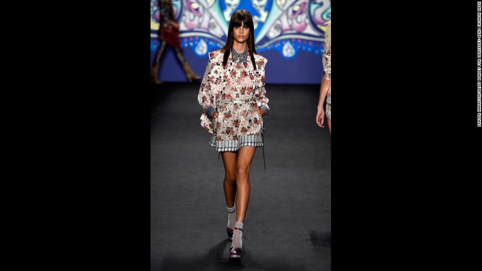 A model walked the runway in matching floral separates during Anna Sui's psychedelic show.