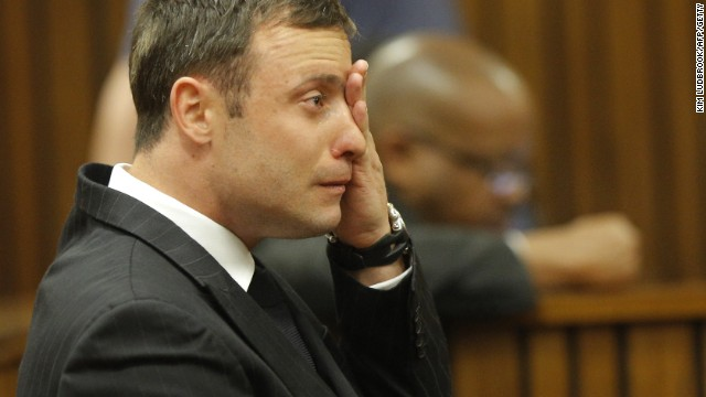 Oscar Pistorius cries during the verdict in his murder trial in Pretoria, South Africa.